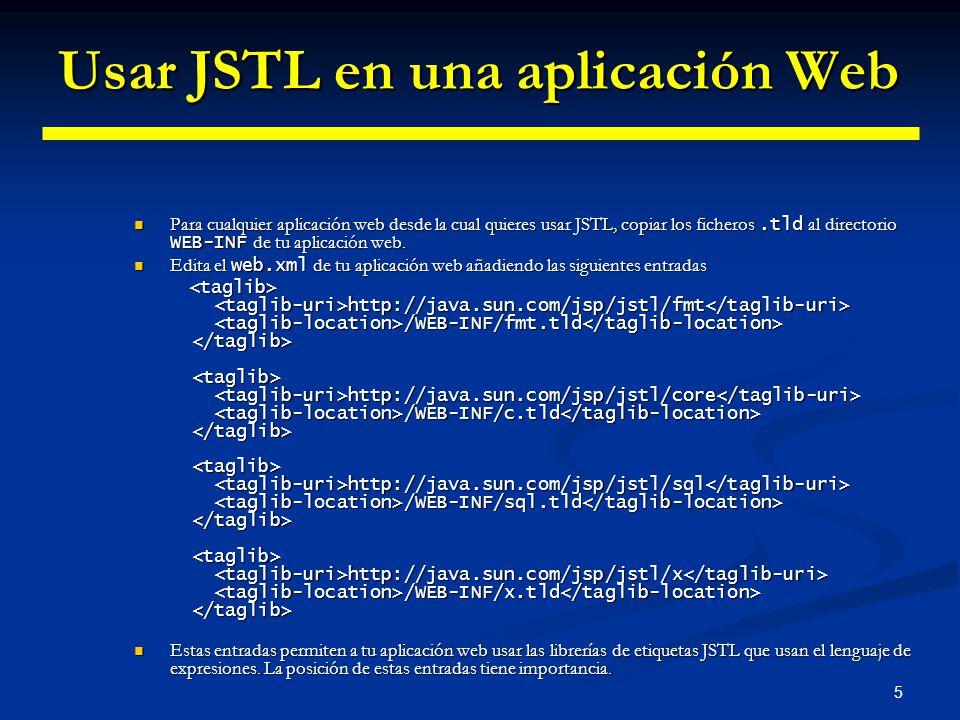 Usar JSTL en una aplicación Web