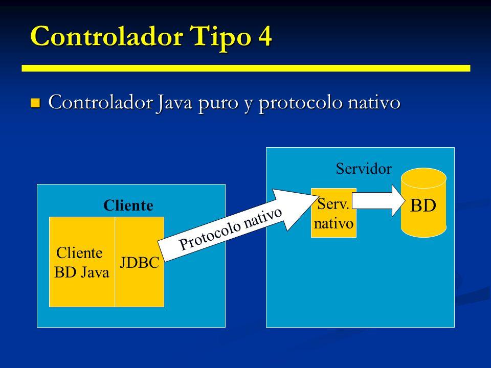 Controlador Tipo 4 Controlador Java puro y protocolo nativo BD