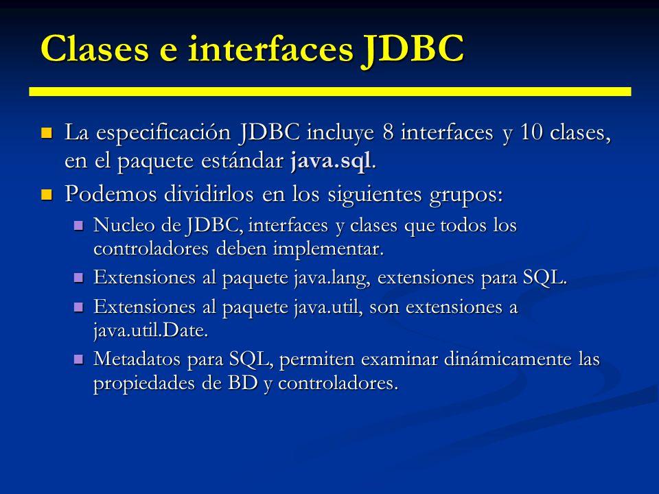 Clases e interfaces JDBC