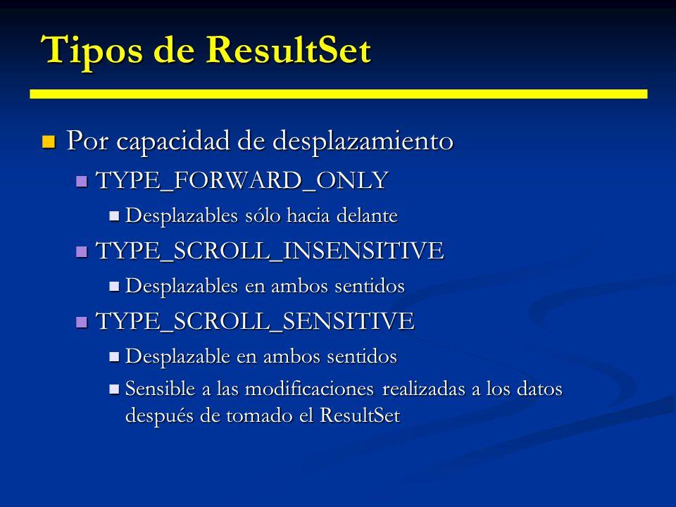Tipos de ResultSet Por capacidad de desplazamiento TYPE_FORWARD_ONLY
