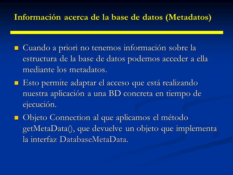 Información acerca de la base de datos (Metadatos)