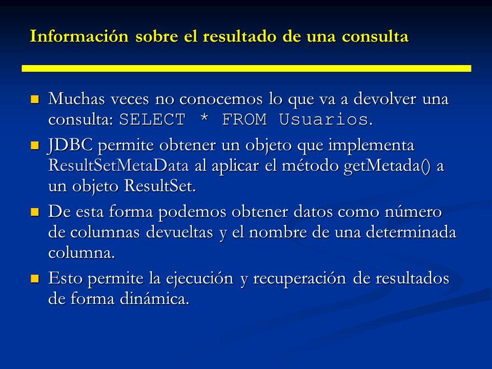 Información sobre el resultado de una consulta