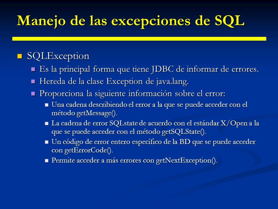 Manejo de las excepciones de SQL