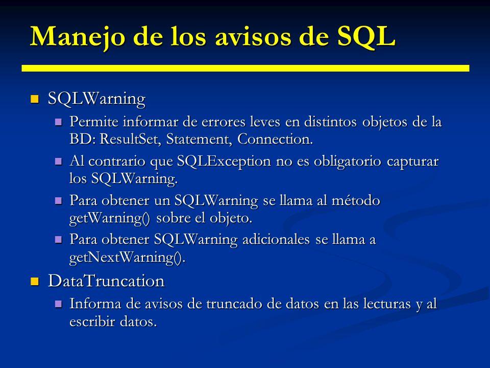 Manejo de los avisos de SQL