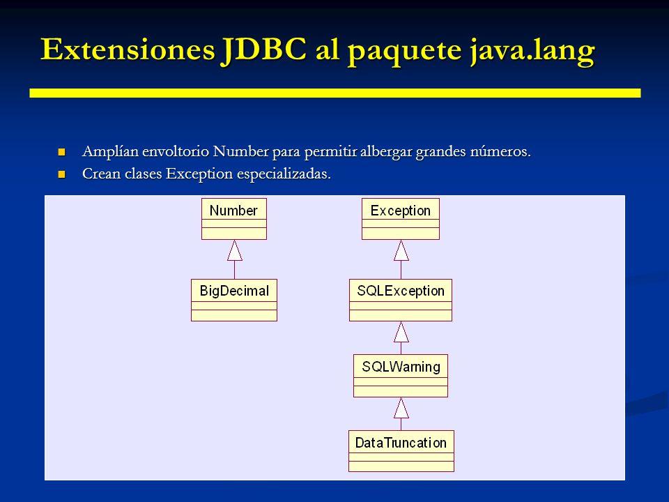 Extensiones JDBC al paquete java.lang