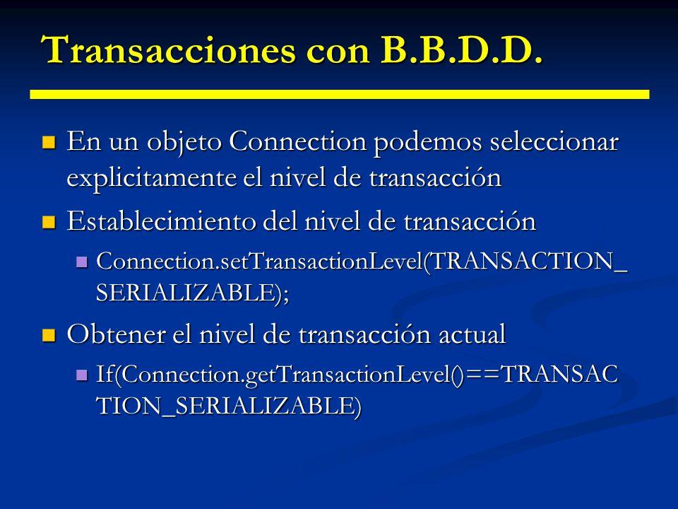 Transacciones con B.B.D.D.