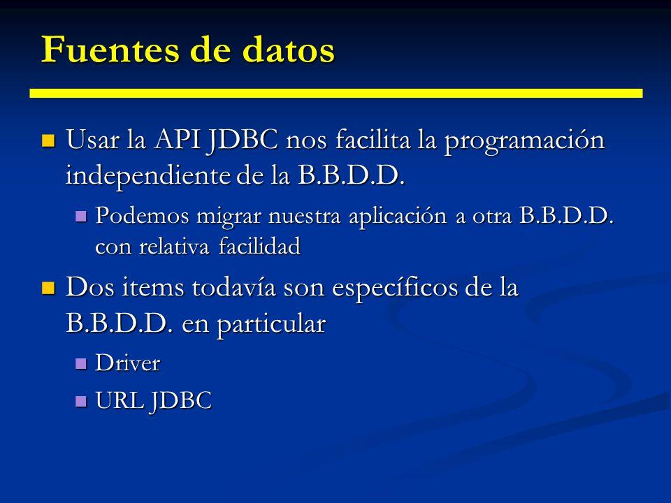 Fuentes de datos Usar la API JDBC nos facilita la programación independiente de la B.B.D.D.