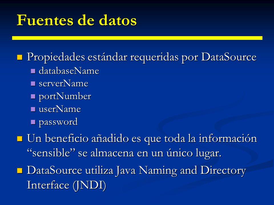 Fuentes de datos Propiedades estándar requeridas por DataSource