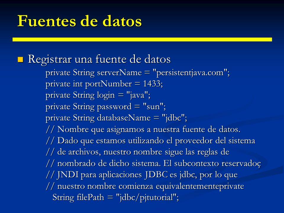 Fuentes de datos Registrar una fuente de datos