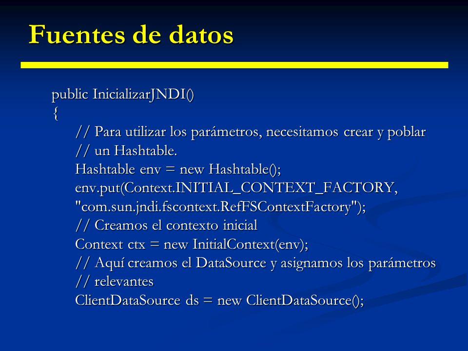 Fuentes de datos public InicializarJNDI() {