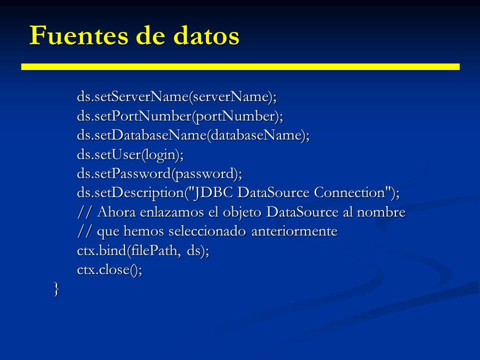 Fuentes de datos ds.setServerName(serverName);