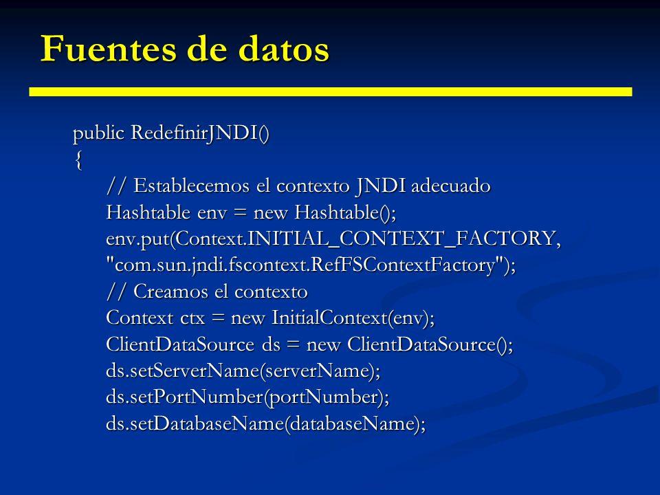 Fuentes de datos public RedefinirJNDI() {