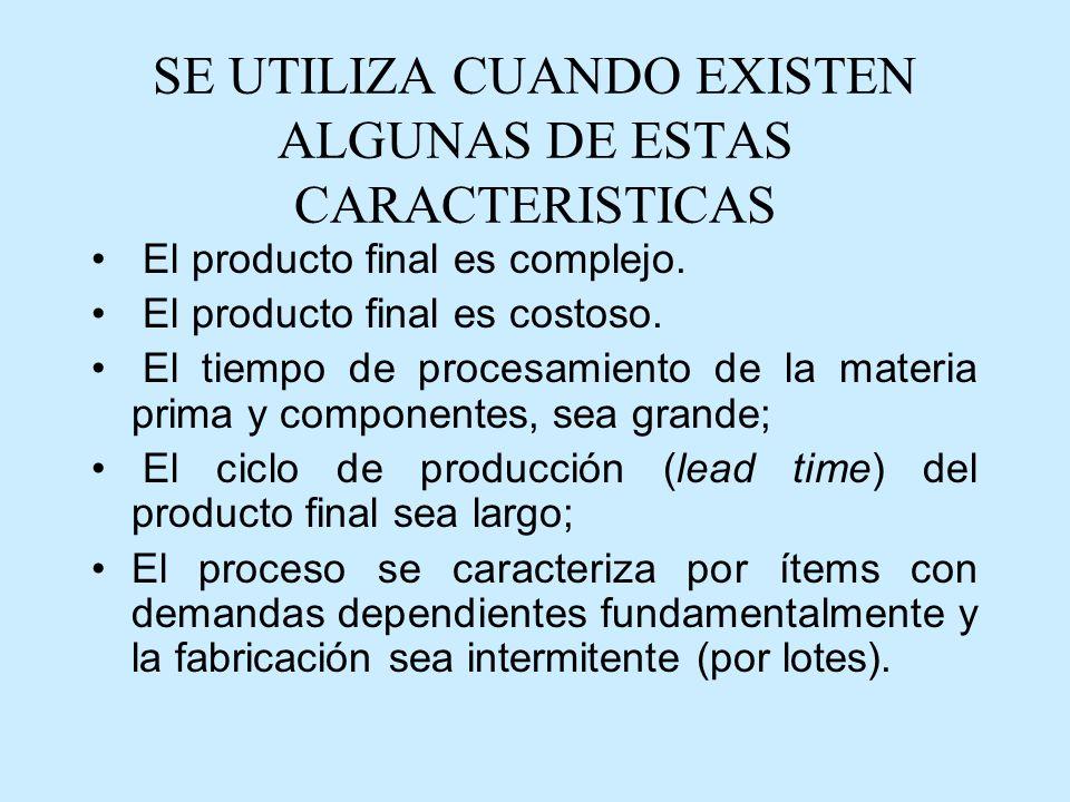 SE UTILIZA CUANDO EXISTEN ALGUNAS DE ESTAS CARACTERISTICAS