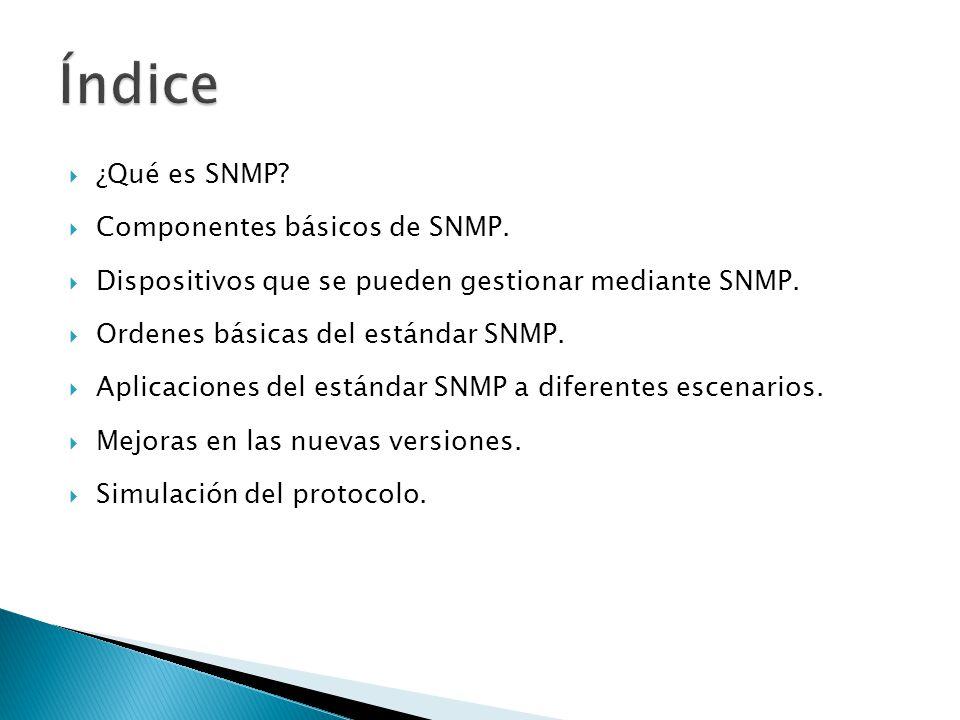 Índice ¿Qué es SNMP Componentes básicos de SNMP.
