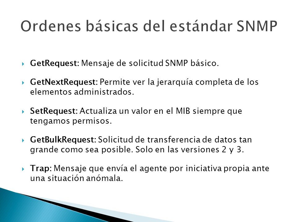Ordenes básicas del estándar SNMP