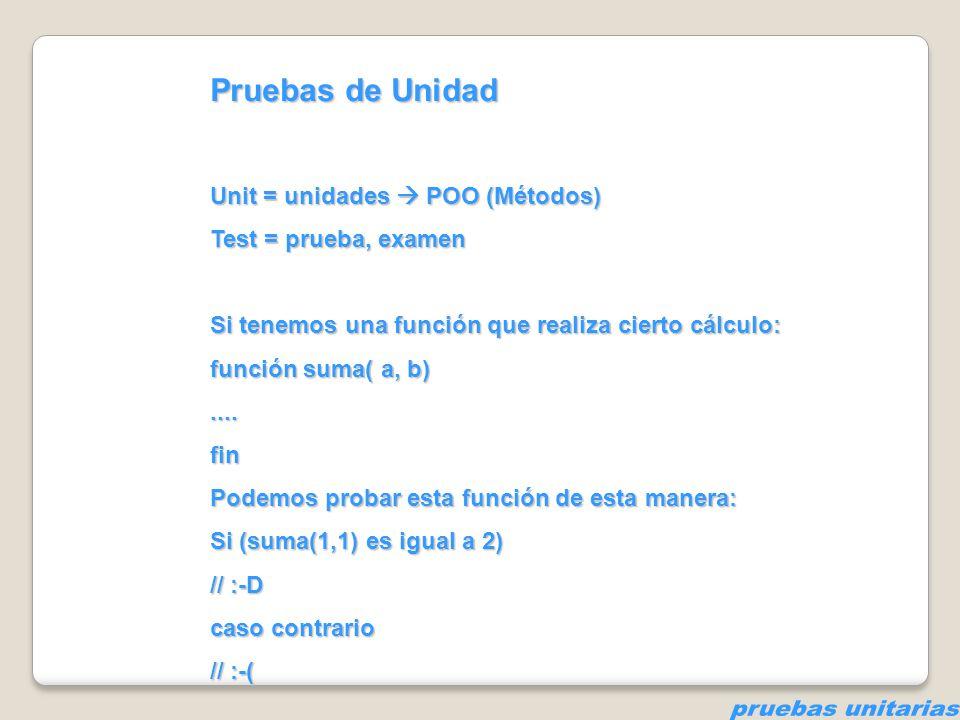pruebas unitarias Pruebas de Unidad Unit = unidades  POO (Métodos)