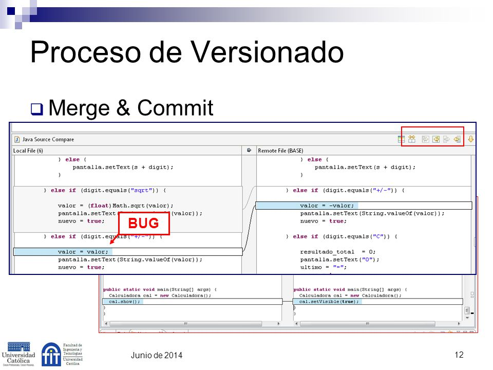 Proceso de Versionado Merge & Commit BUG Martin abril de 2017 12