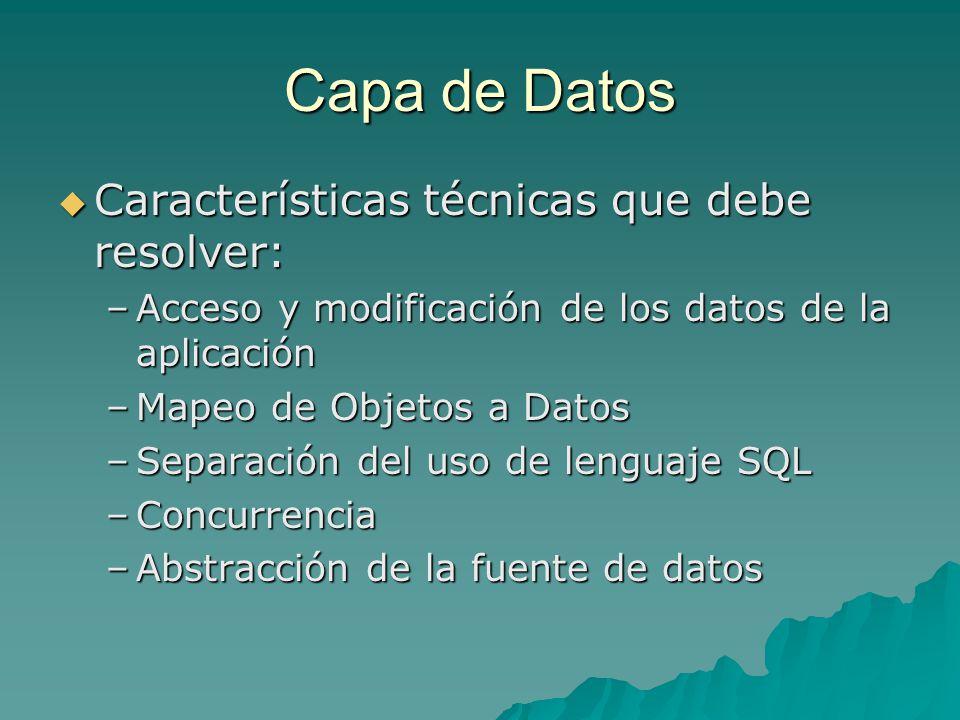 Capa de Datos Características técnicas que debe resolver: