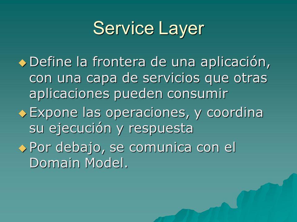 Service Layer Define la frontera de una aplicación, con una capa de servicios que otras aplicaciones pueden consumir.