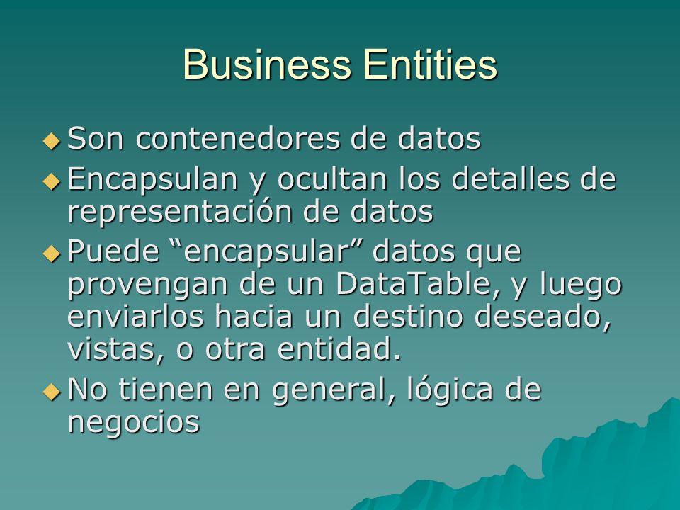 Business Entities Son contenedores de datos