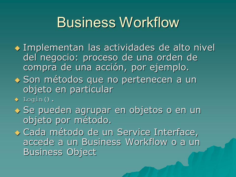 Business Workflow Implementan las actividades de alto nivel del negocio: proceso de una orden de compra de una acción, por ejemplo.