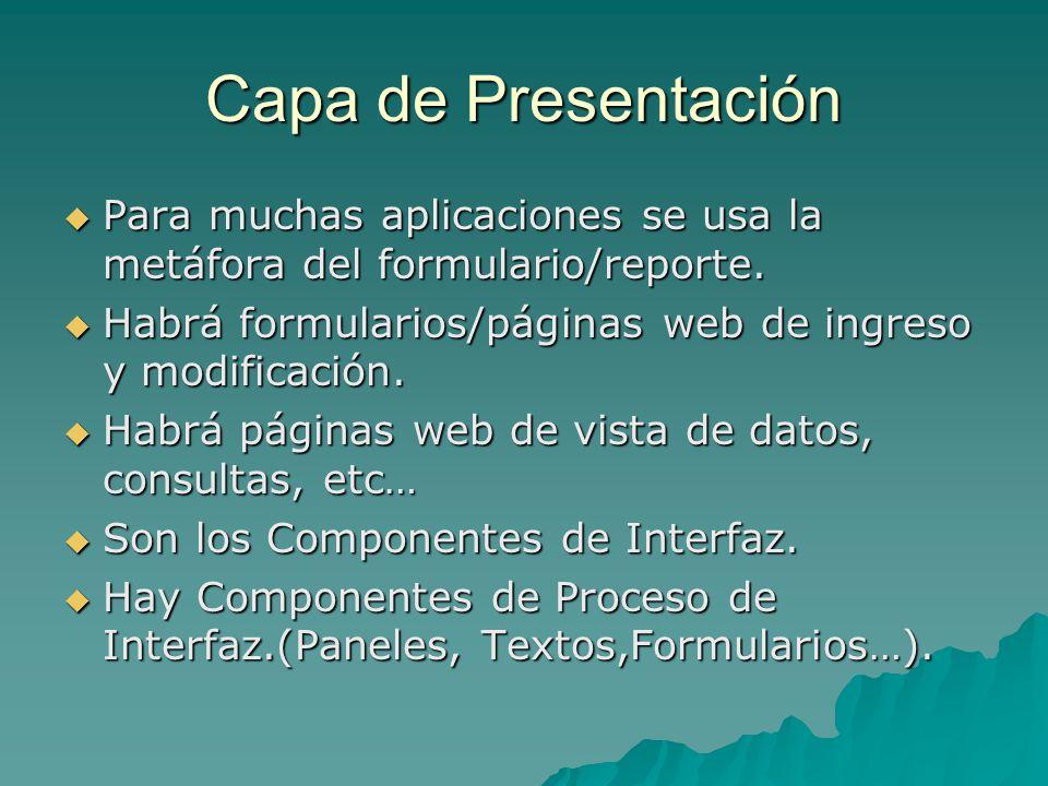 Capa de Presentación Para muchas aplicaciones se usa la metáfora del formulario/reporte. Habrá formularios/páginas web de ingreso y modificación.
