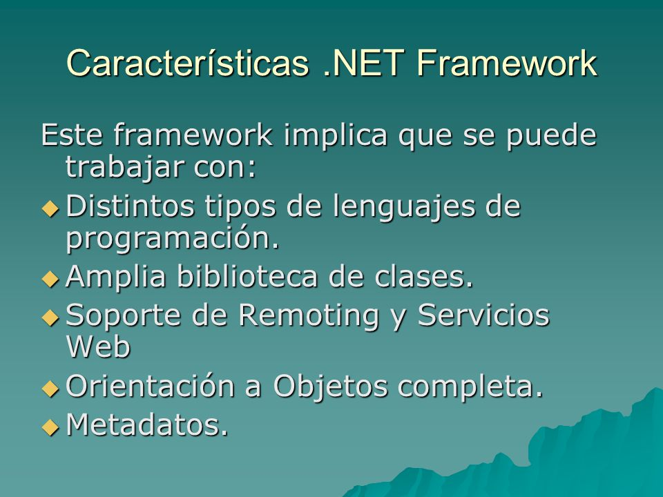 Características .NET Framework