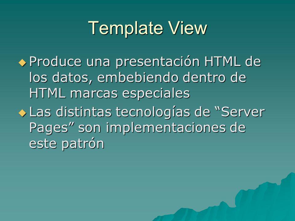 Template View Produce una presentación HTML de los datos, embebiendo dentro de HTML marcas especiales.