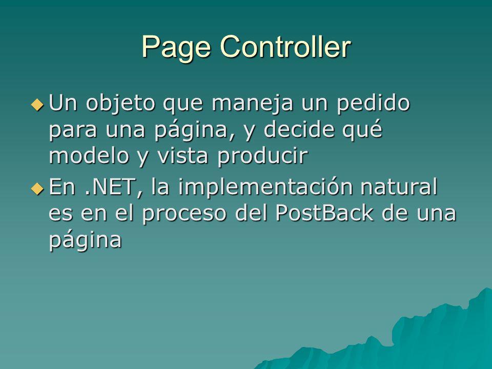 Page Controller Un objeto que maneja un pedido para una página, y decide qué modelo y vista producir.