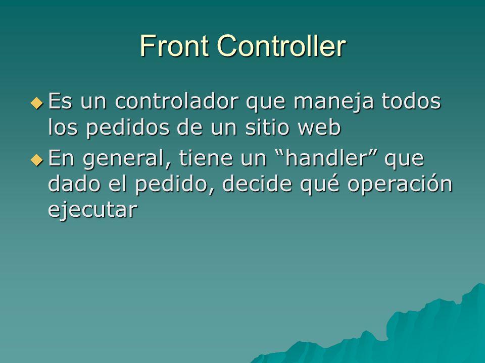 Front Controller Es un controlador que maneja todos los pedidos de un sitio web.