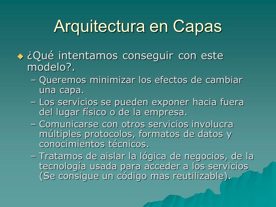 Arquitectura en Capas ¿Qué intentamos conseguir con este modelo .