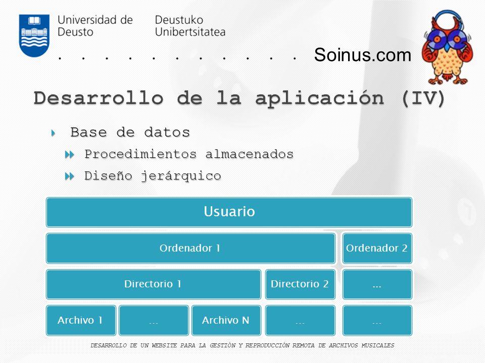 Desarrollo de la aplicación (IV)