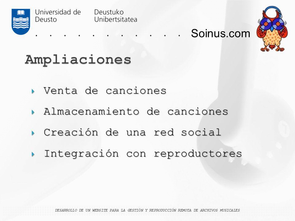 Ampliaciones Soinus.com Venta de canciones Almacenamiento de canciones