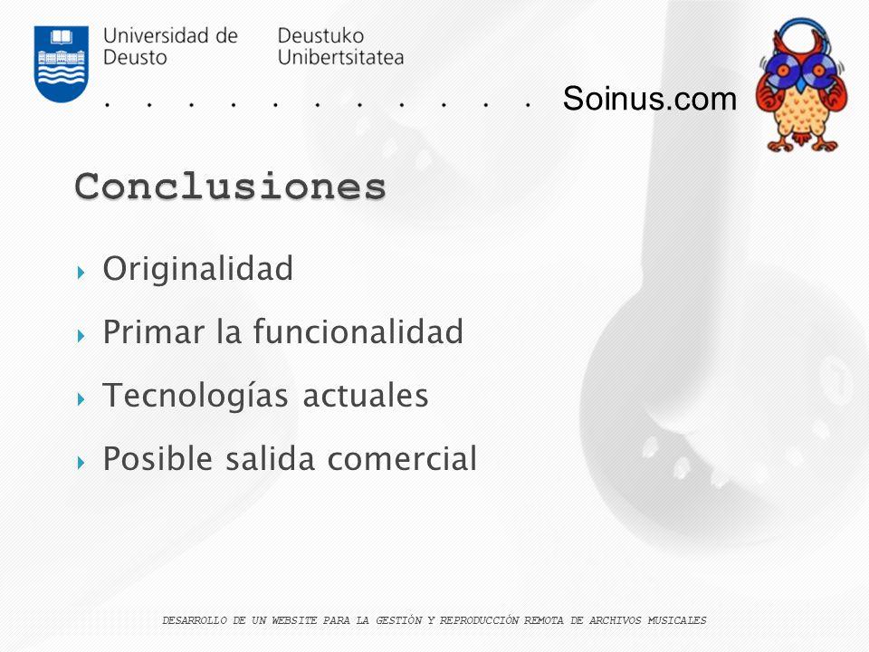 Conclusiones Soinus.com Originalidad Primar la funcionalidad