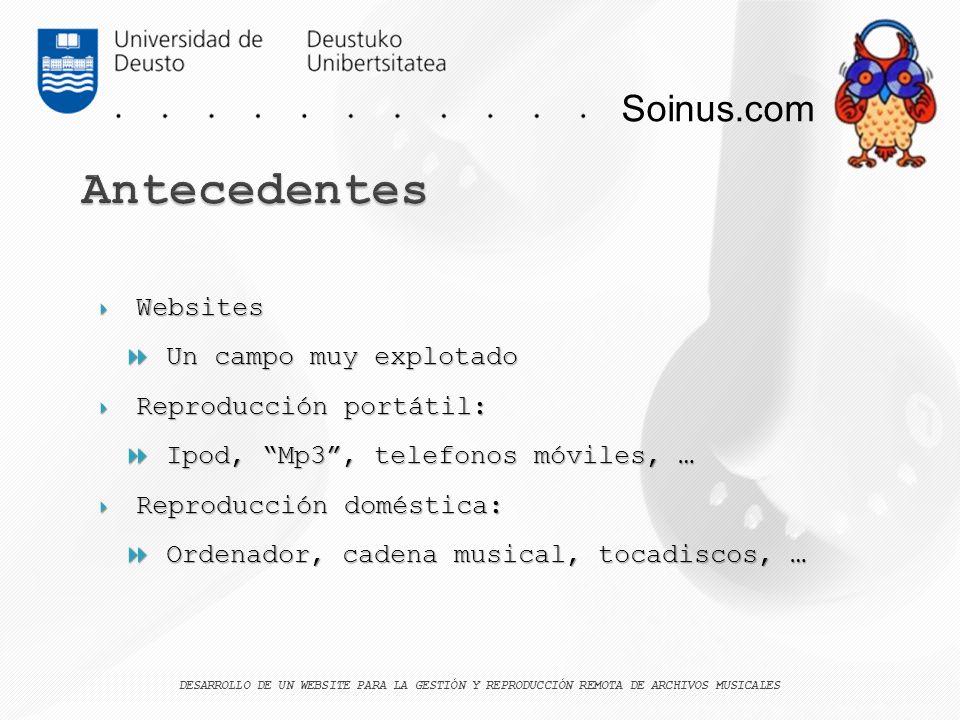 Antecedentes Soinus.com Websites Un campo muy explotado