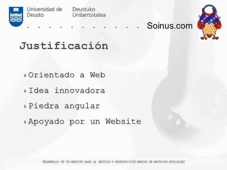 Justificación Soinus.com Orientado a Web Idea innovadora