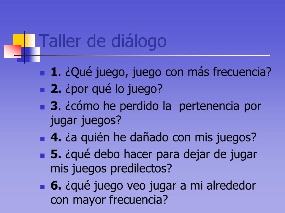 Taller de diálogo 1. ¿Qué juego, juego con más frecuencia
