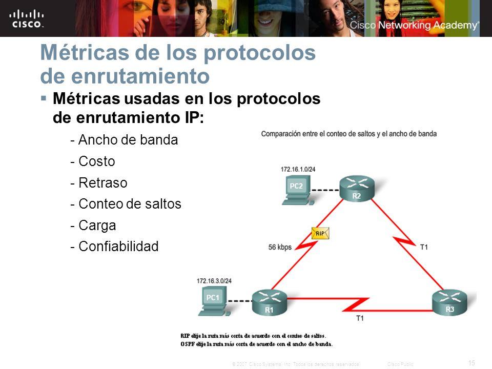 Métricas de los protocolos de enrutamiento