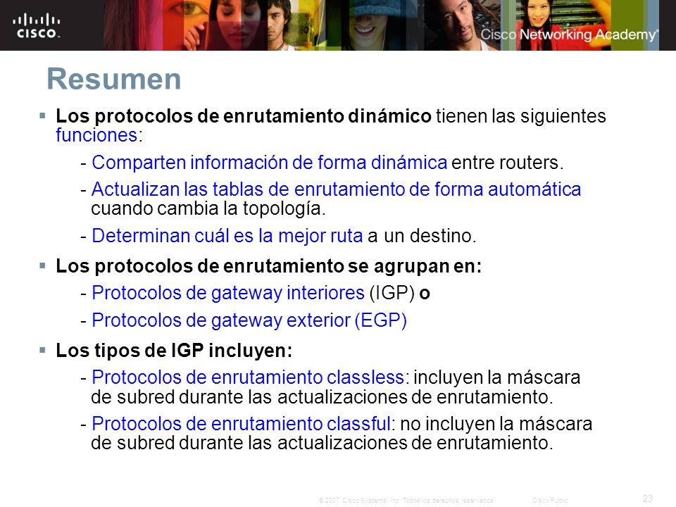 Resumen Los protocolos de enrutamiento dinámico tienen las siguientes funciones: - Comparten información de forma dinámica entre routers.