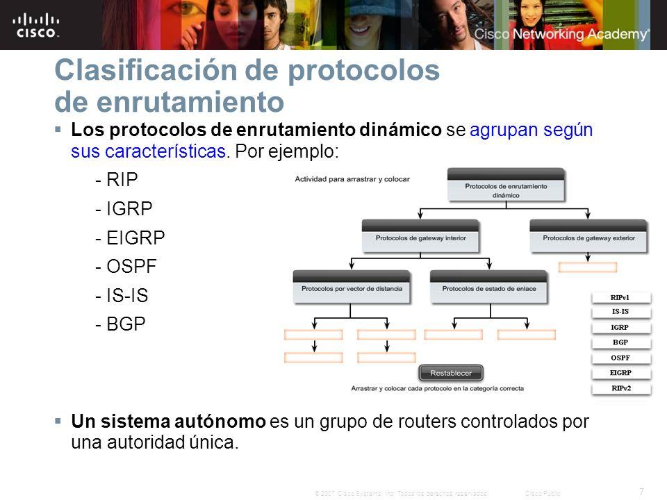 Clasificación de protocolos de enrutamiento