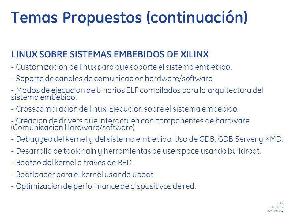 Temas Propuestos (continuación)