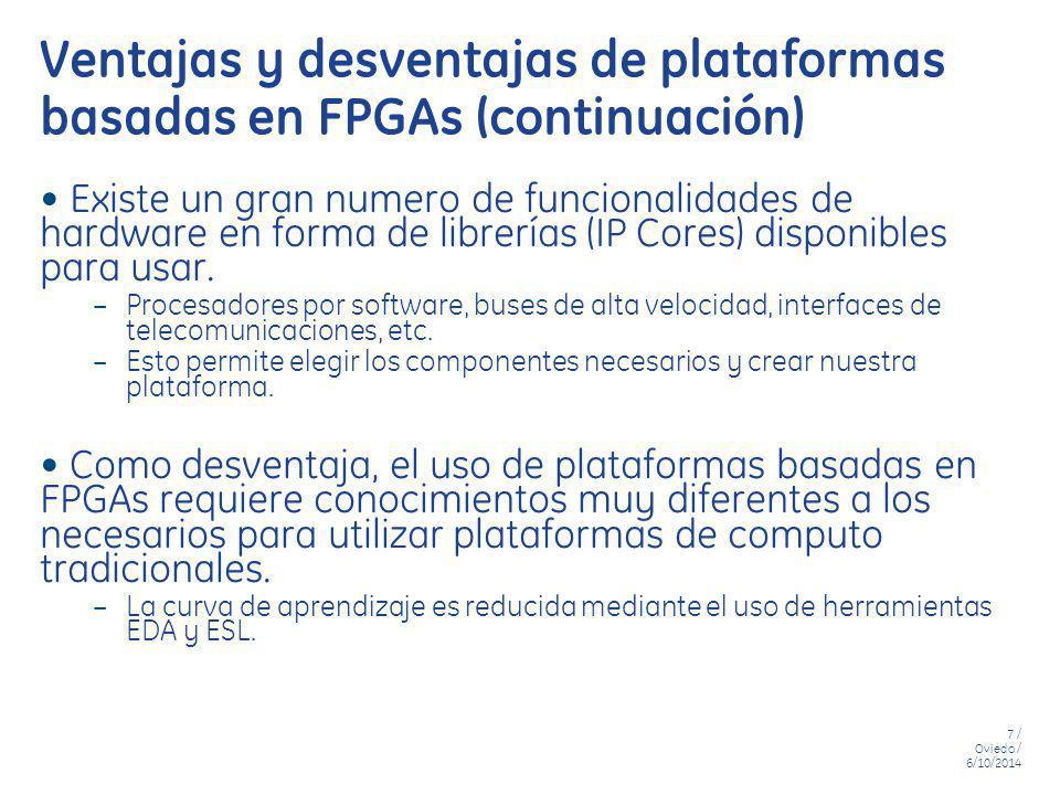 Ventajas y desventajas de plataformas basadas en FPGAs (continuación)