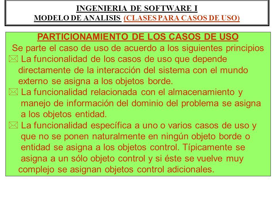 INGENIERIA DE SOFTWARE I MODELO DE ANALISIS (CLASES PARA CASOS DE USO)