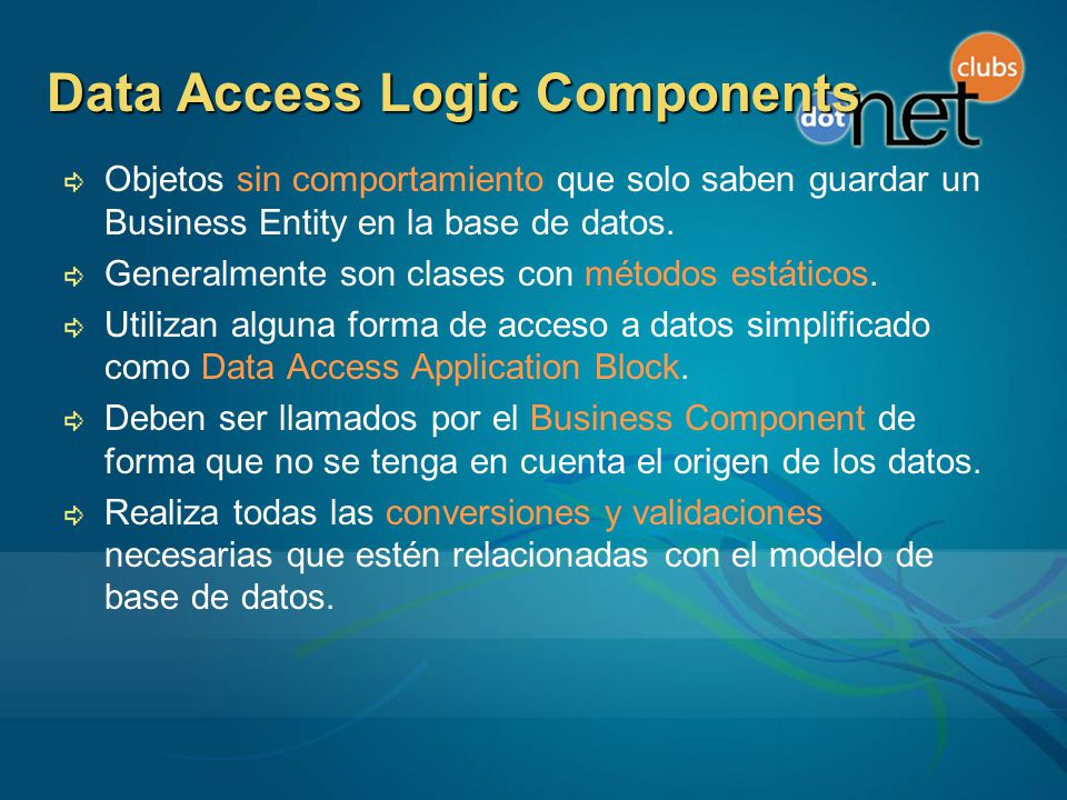 Data Access Logic Components