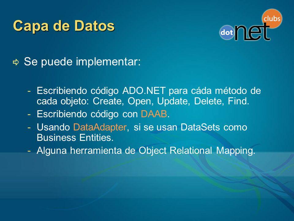 Capa de Datos Se puede implementar: