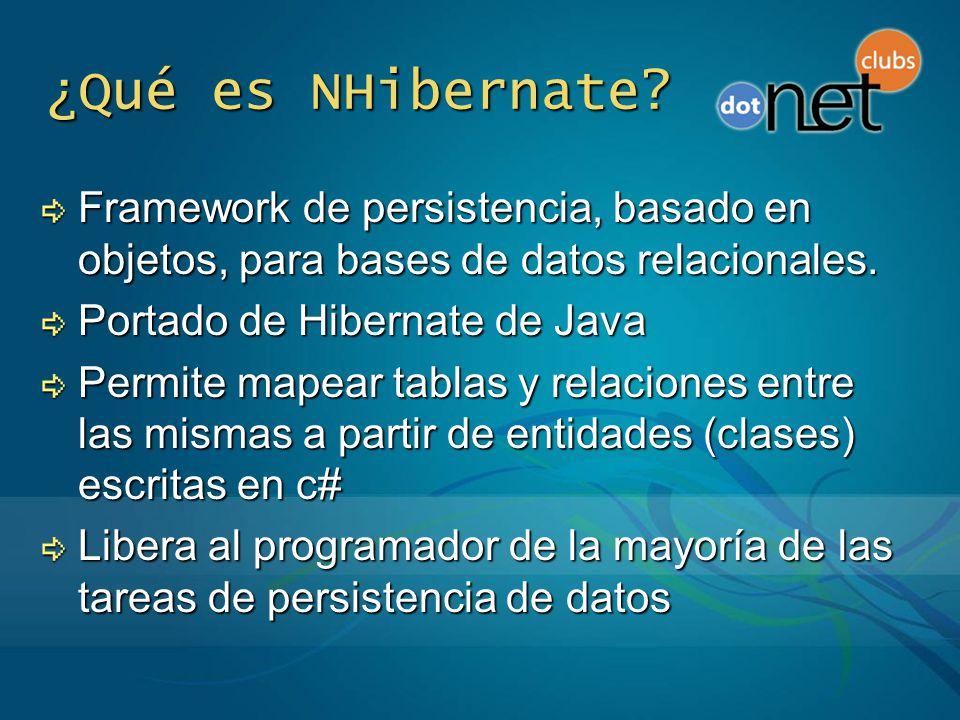 ¿Qué es NHibernate Framework de persistencia, basado en objetos, para bases de datos relacionales.