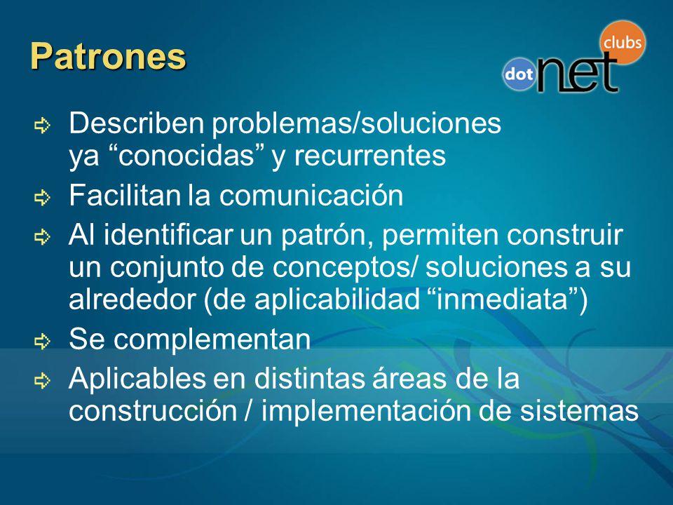 Patrones Describen problemas/soluciones ya conocidas y recurrentes