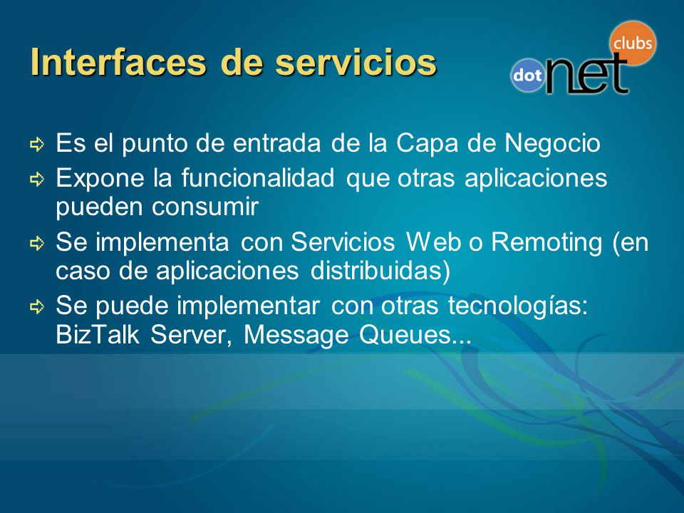 Interfaces de servicios