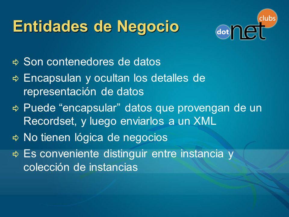 Entidades de Negocio Son contenedores de datos