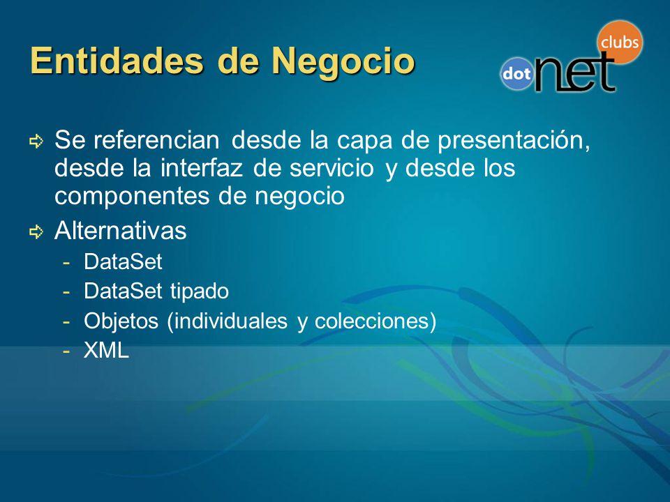 Entidades de Negocio Se referencian desde la capa de presentación, desde la interfaz de servicio y desde los componentes de negocio.